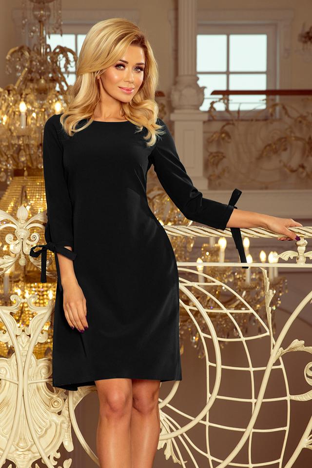 d7125b95a0cb Černé dámské šaty s mašlemi 195-8 ALICE - M