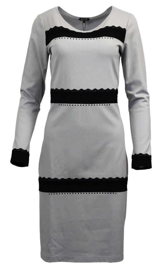 Šaty CILIA Drm - Favab - S - šedá s černou krajkou