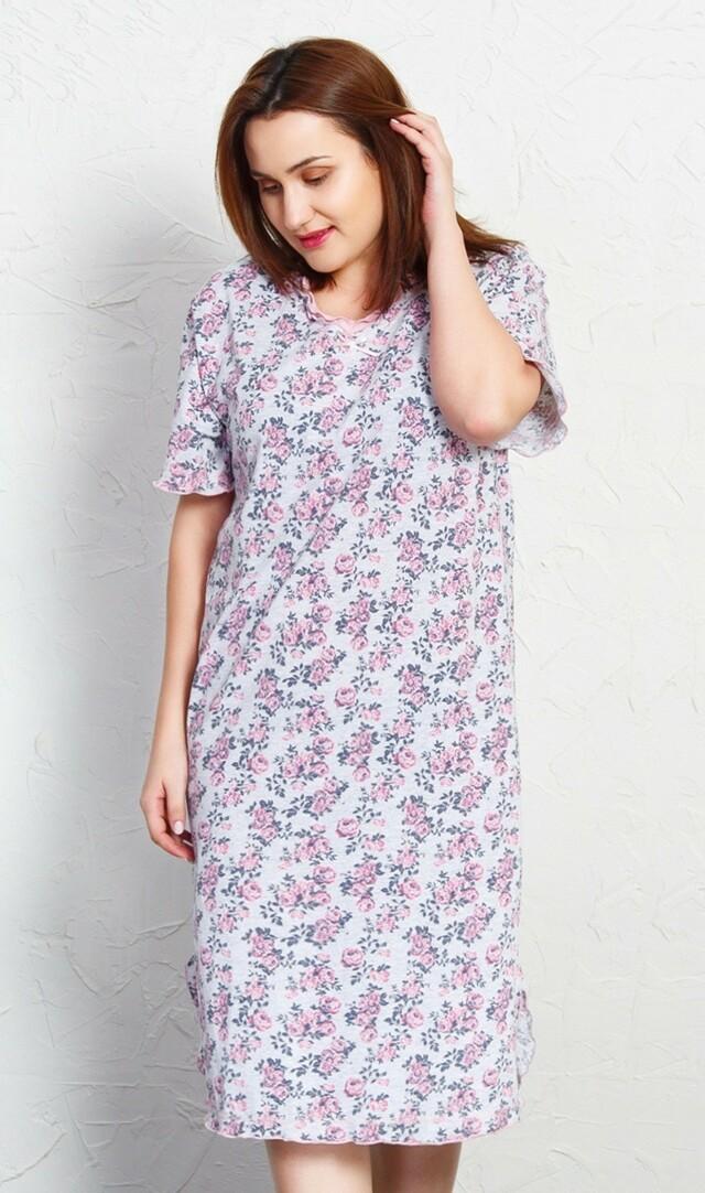 Dámská noční košile s krátkým rukávem Růženka - světle růžová 2XL e2b2e78606
