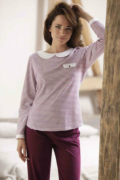 Dámské pyžamo Cana 333 - L - bílá-bordo