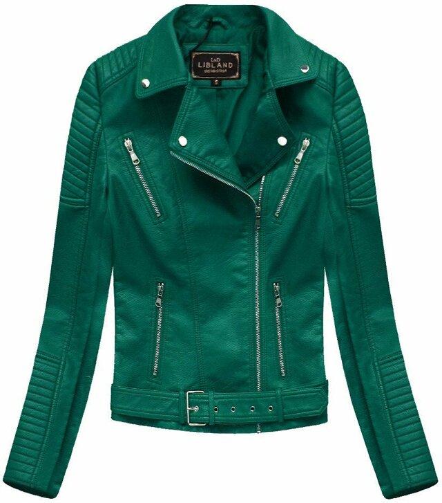 Zelená dámská bunda ramoneska se sponou (5378) - S (36) - zelená
