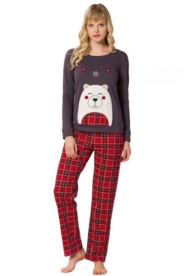 Dámské pyžamo s medvídkem Teddy fialové - S