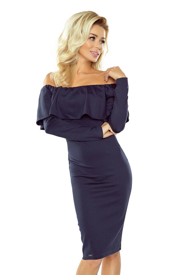 2a19adac700 Tmavě modré španělské šaty s dlouhým rukávem 156-1 - S