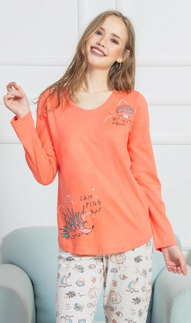 Dámské pyžamo dlouhé Ježek - oranžová S