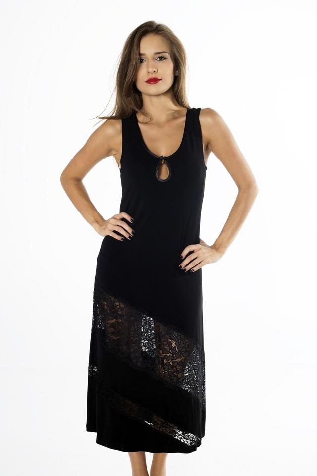 Dámská noční košile Amber Edition NKV 107 Gaia - XL - černá 29f2281dbc