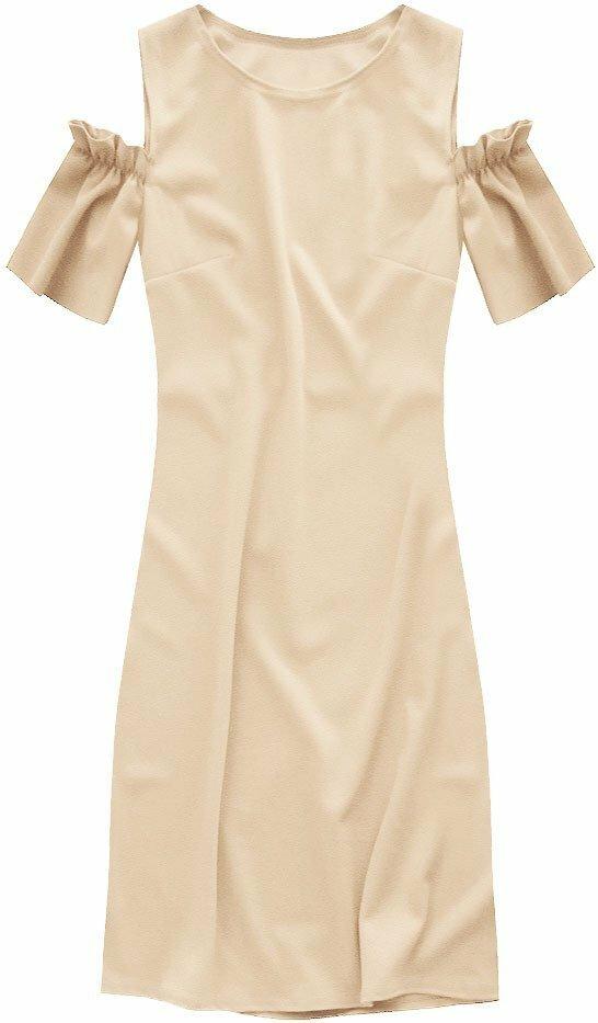 Béžové šaty se spuštěnými rukávky (106ART) - ONE SIZE - béžová