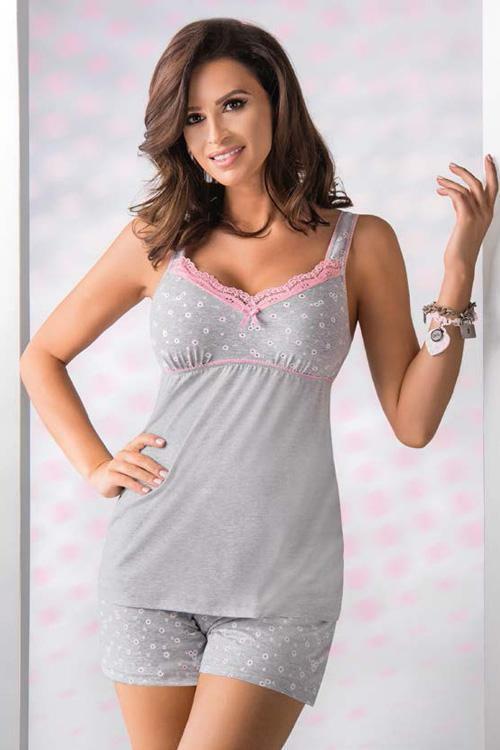 Dámské pyžamo Donna Pati PJ 1/2 - S - světle šedá (melanž)