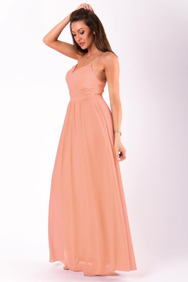 0e0b4fb585f1 Pudrově růžové šaty EVA LOLA 51008-7 - M