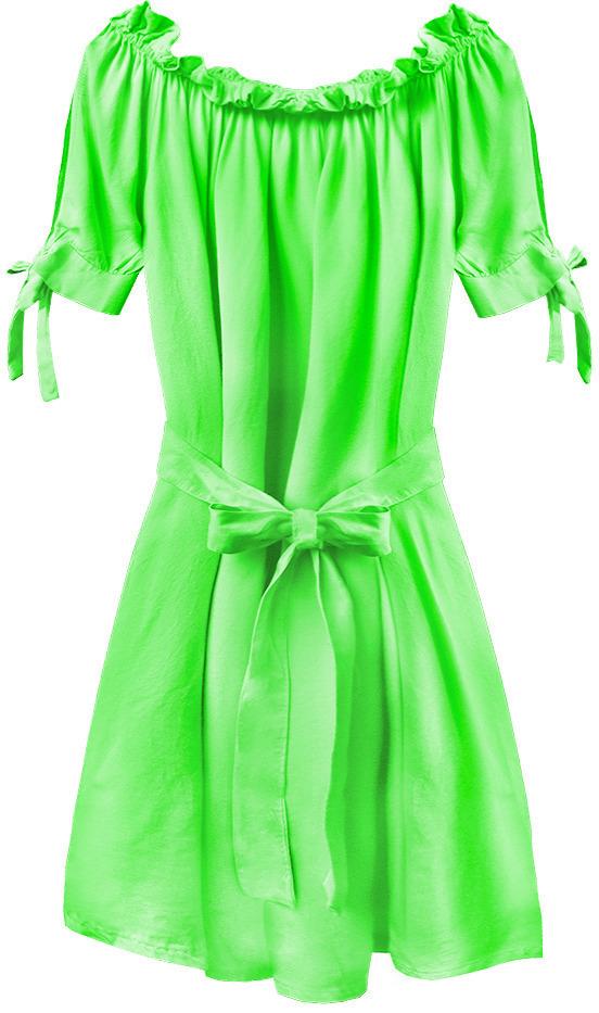 Dámská tunika ve španělském stylu v neonově zelené barvě s páskem (279ART) - jedna velikost - Zelený