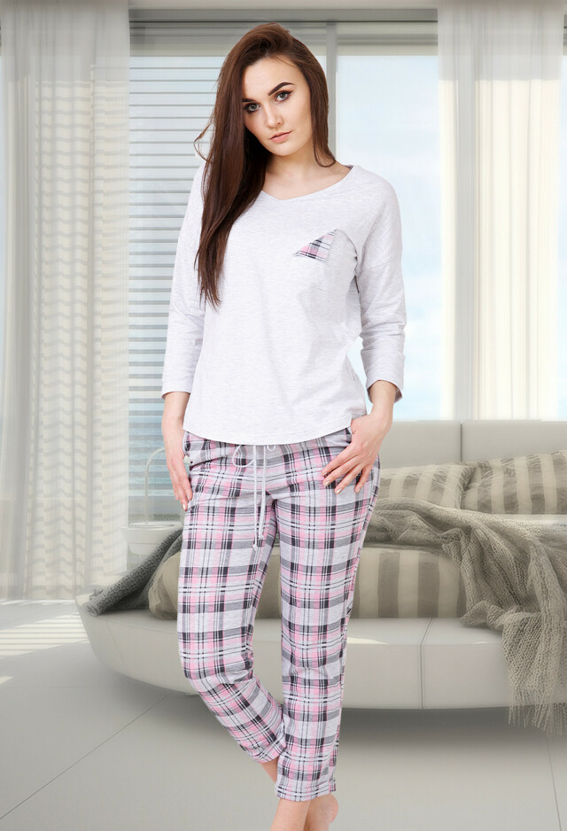 Dámské pyžamo M-Max Beatrycze 540 - XL - šedá-žíhaná