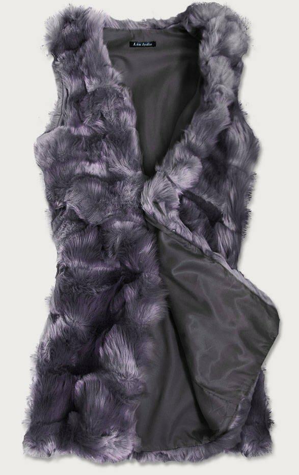 Dlouhá tmavě modrá vesta z umělé kožešiny (102#) - XL (42) - tmavěmodrá