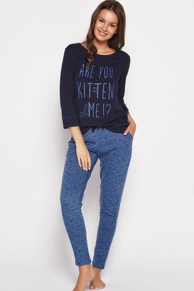 Dámské pyžamo 35601 blue - L - tmavě modrá