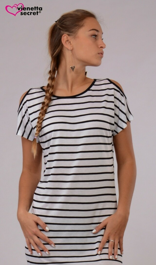 Dámská noční košile s krátkým rukávem Elizabet - bílá/černá M