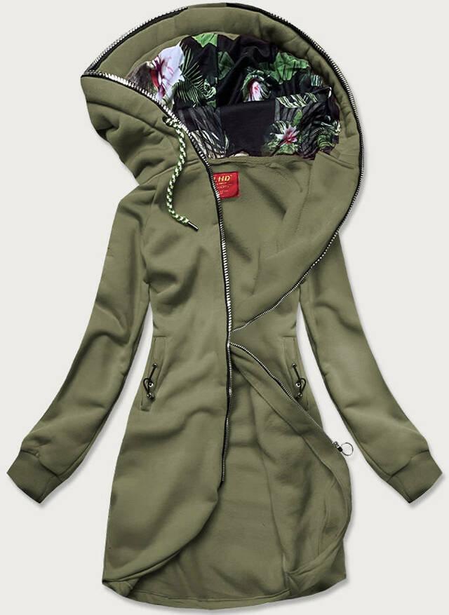 Dlouhá dámská mikina v khaki barvě s kapucí (AMG-855) - L (40) - Khaki