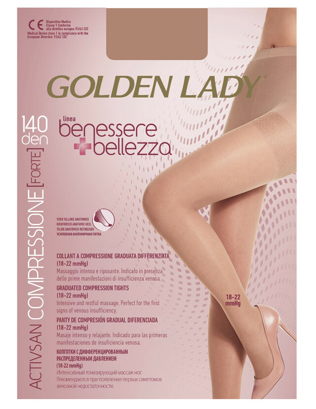 Punčochové kalhoty Golden Lady Benessere 140 den - 2-S - playa/odstín béžové