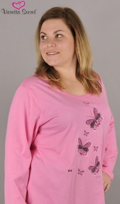 Dámské pyžamo dlouhé Motýli na louce - světle růžová 1XL