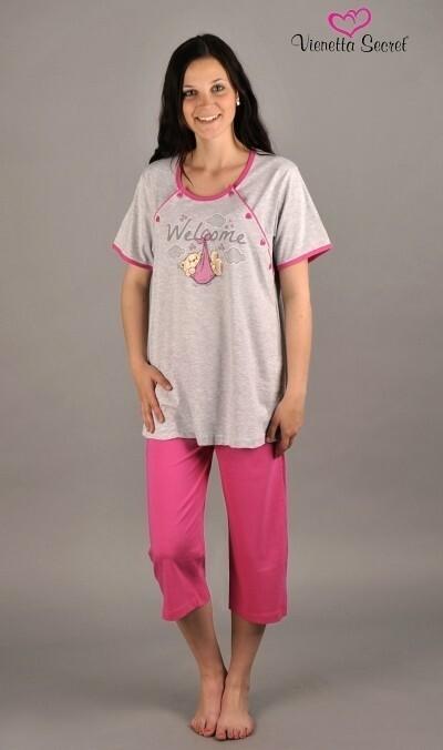 Dámské pyžamo kapri mateřské Welcome - světle šedá XL