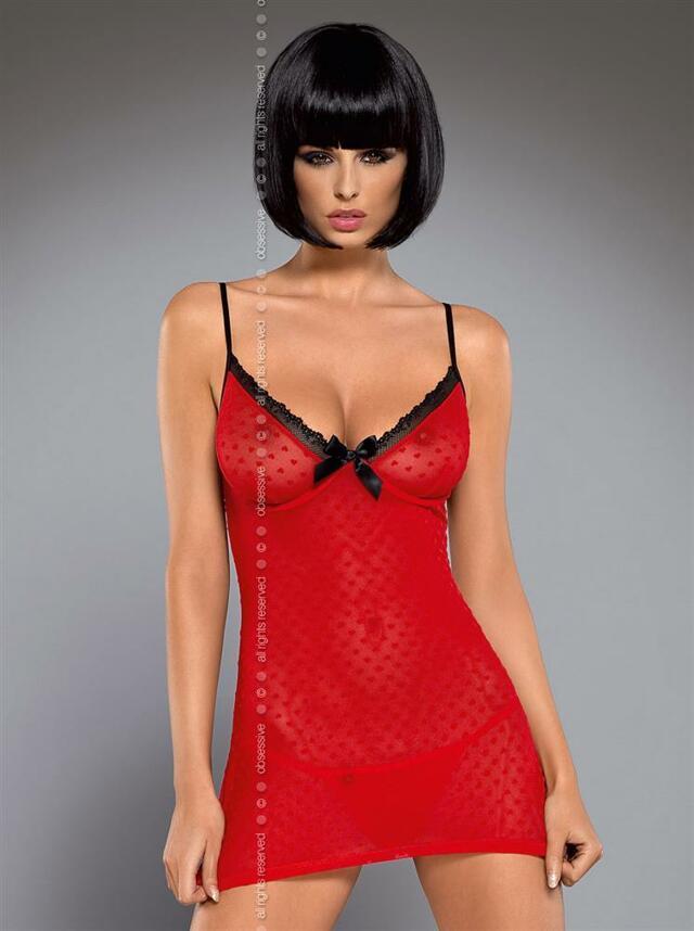 Košilka Truelove chemise - Obsessive - L/XL - červená
