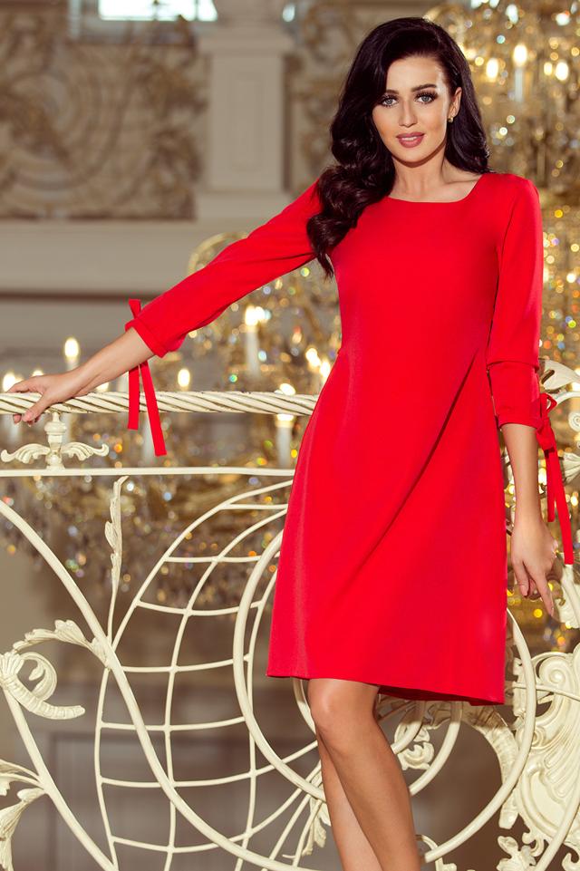 3e2893cc36de Červené dámské šaty s mašlemi 195-4 ALICE - L