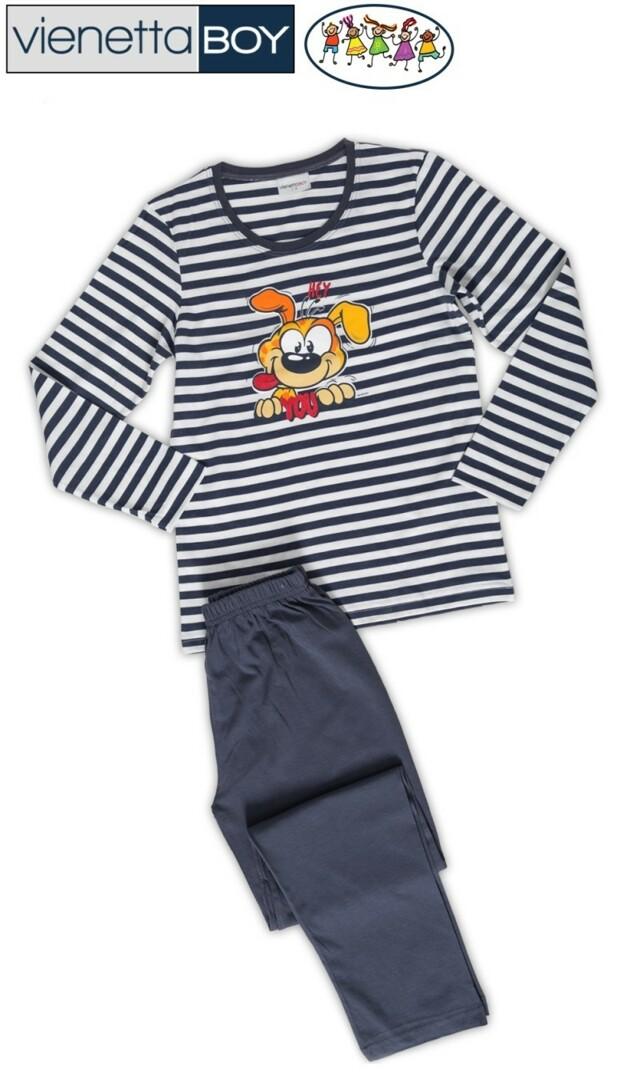 Dětské pyžamo dlouhé Pes - tmavě modrá 7 - 8