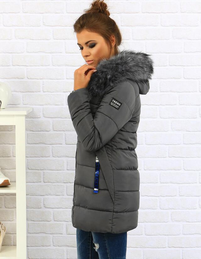 Dámská zimní bunda s kapucí 8804 (ty0080) - FANXUEGEDI - L - šedá