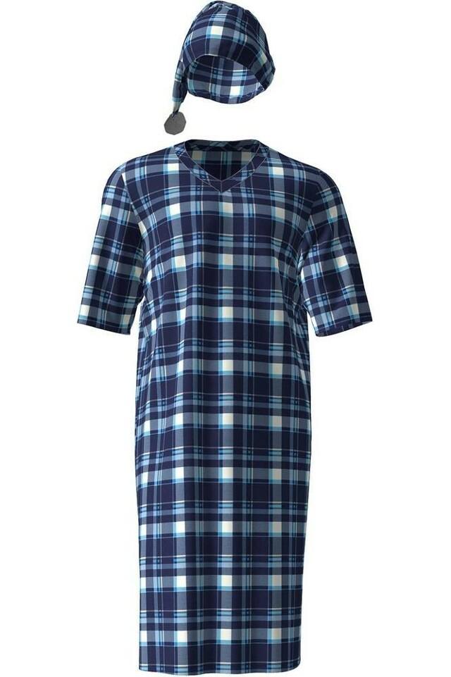 Pánská noční košile 4904 - Vamp - M - modrá kostka