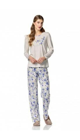 Dámské pyžamo 10-4734 - Vamp - L - modrá-květy