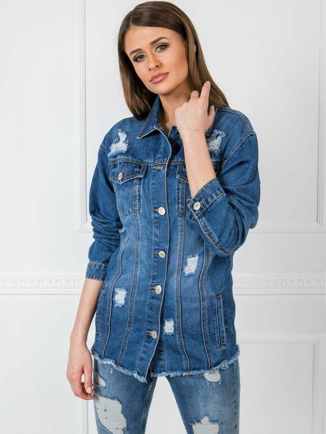 Modrá zoufalá džínová bunda - S