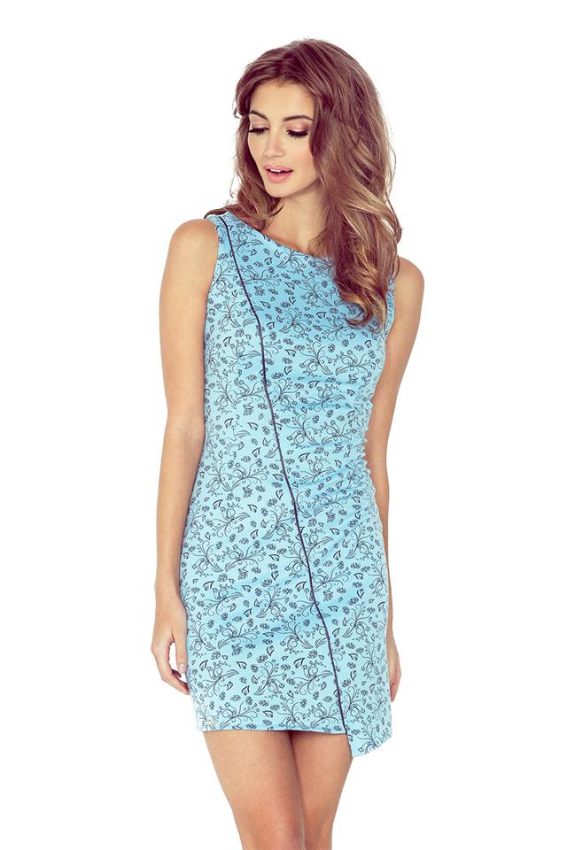 Modré asymetrické šaty s květy MM 004-5