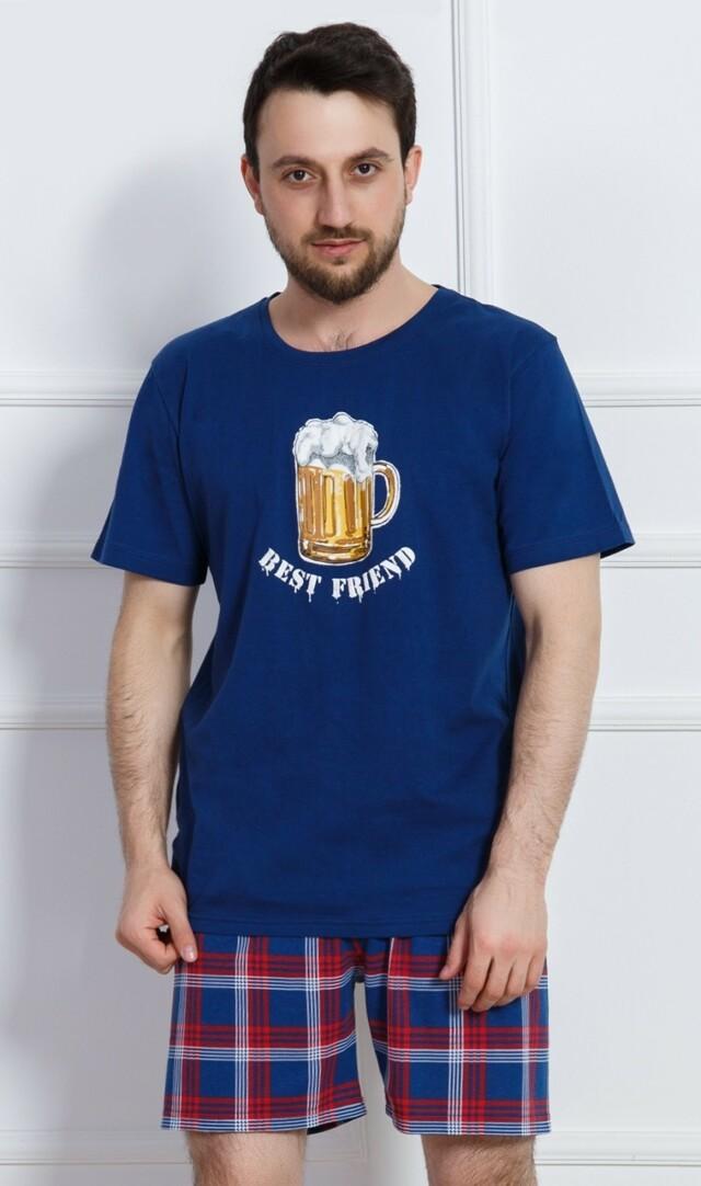 Pánské pyžamo šortky Velké pivo - modrá XXL