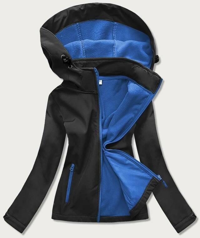 Černo-světle modrá dámská trekingová bunda-mikina (HH018-1-9) - S (36) - černá