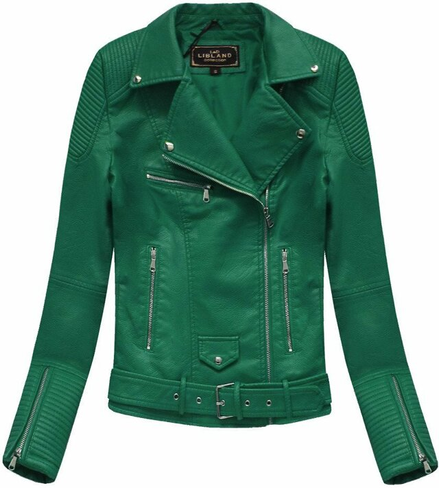Zelená dámská bunda ramoneska se sponou (5377) - S (36) - zelená
