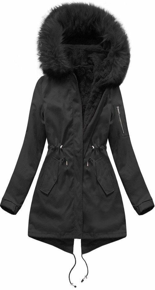 Černá dámská zimní bunda s vsadkou (R1308) - S (36) - černá