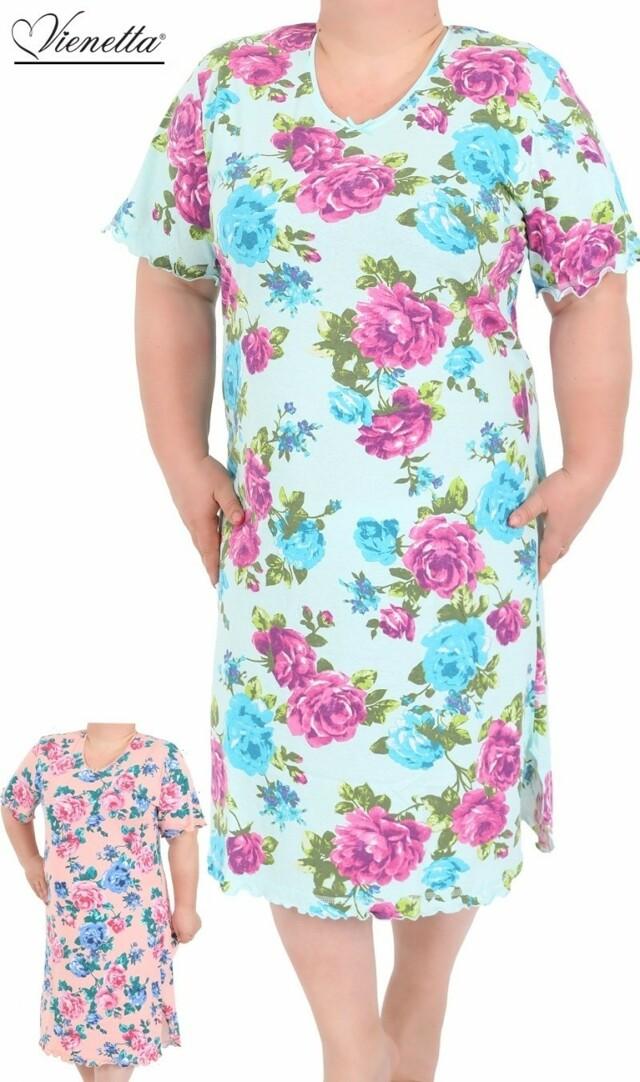 Dámská noční košile s krátkým rukávem Róza - lososová 1XL