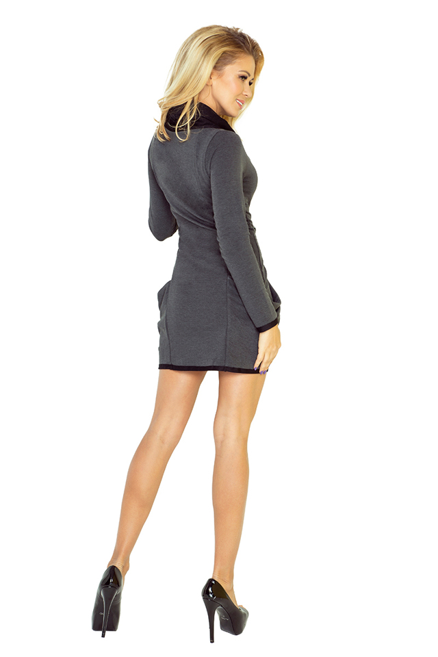 56cc0773bc1b Tmavě šedé šaty s rolákem a kapsami 135-4(480604) - 2