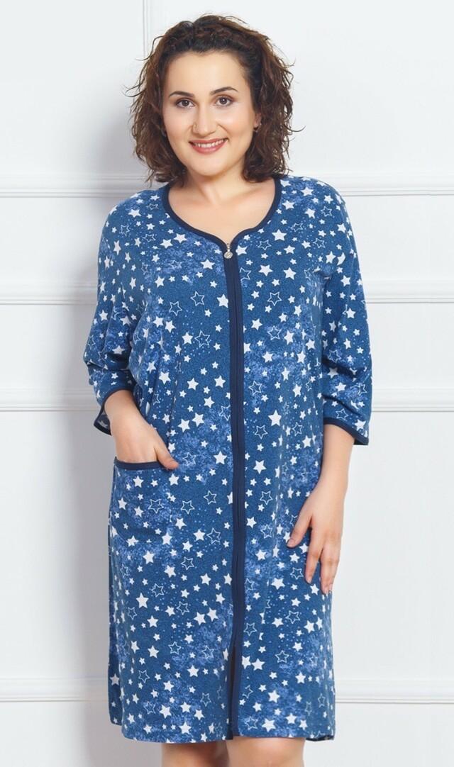 Dámské domácí šaty s tříčtvrtečním rukávem Hvězdičky - modrá 1XL