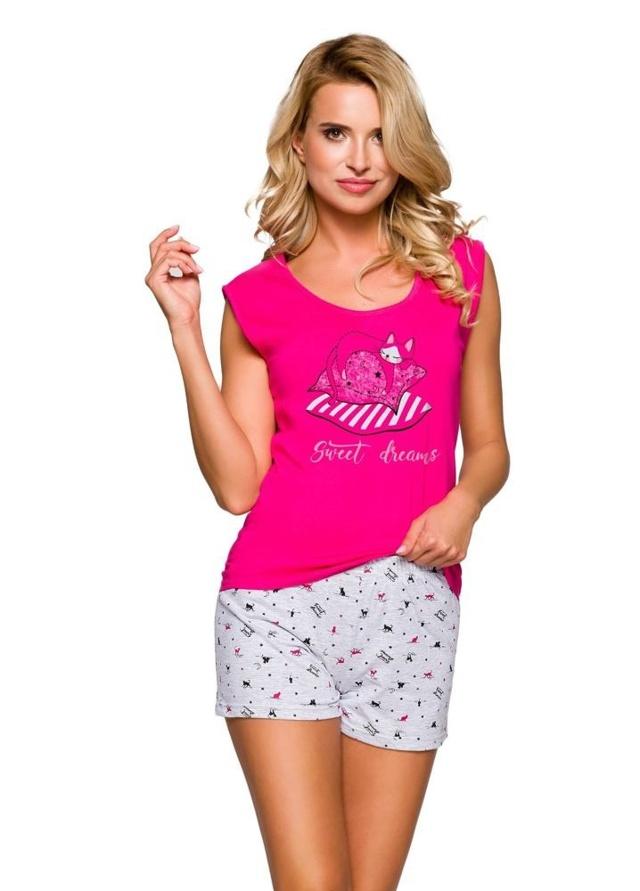 Dámské pyžamo Eva růžové s kočkou - S