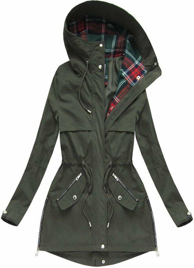 Bunda parka v khaki barvě s kapucí (W151) - M (38) - khaki