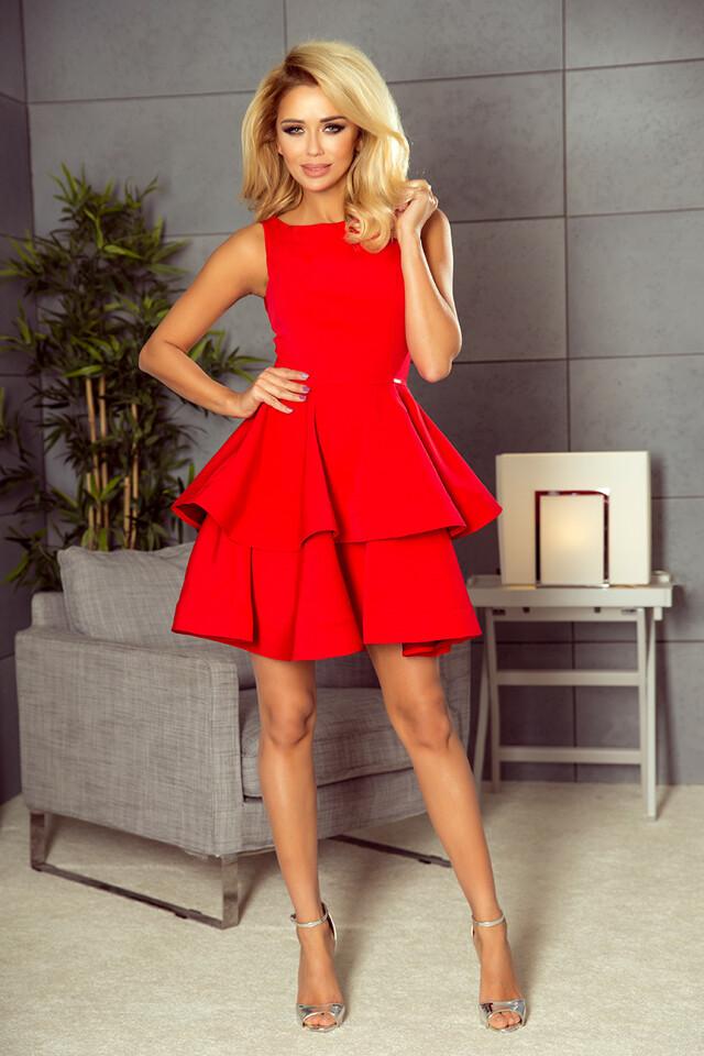 Červené rozšířené šaty 169-1 CRISTINA - S