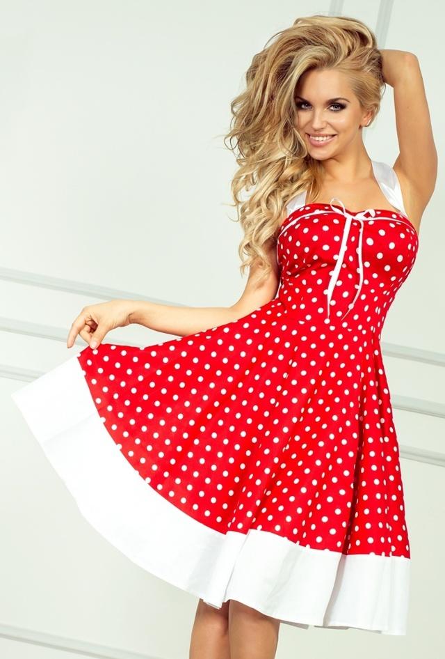 Červené rockabilly pin up šaty s puntíky 30-8 - UNI