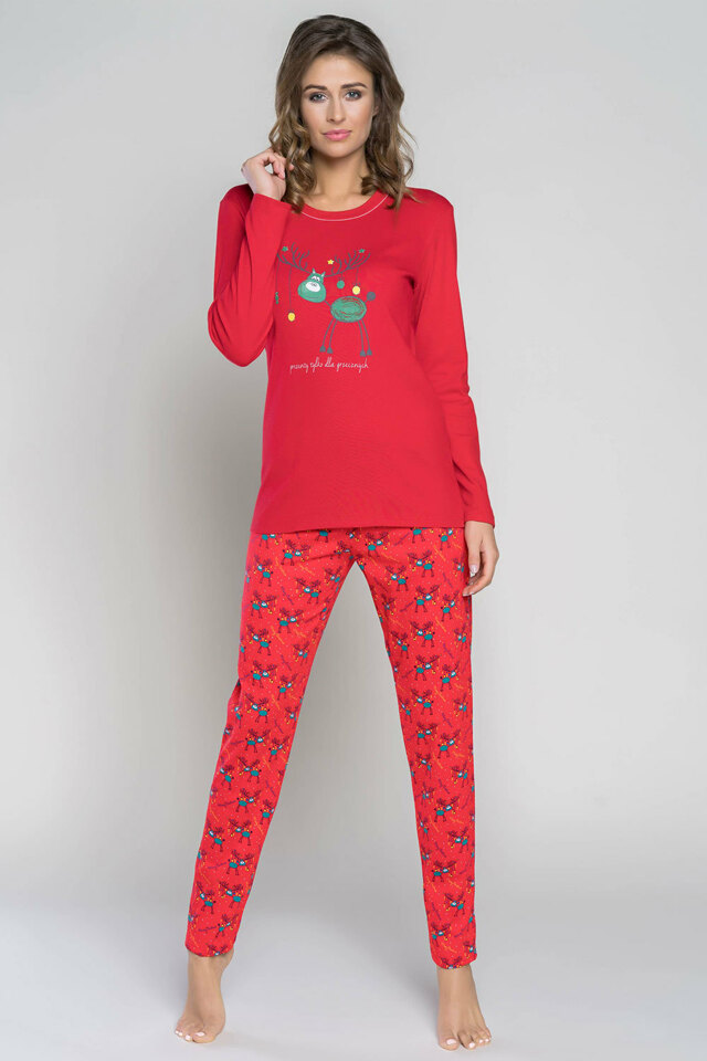 Dámské pyžamo Italian Fashion Zora dł.r. dł.sp. - M - červená