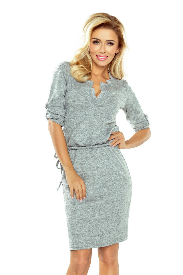 Šedé šaty Agata s límečkem - XL