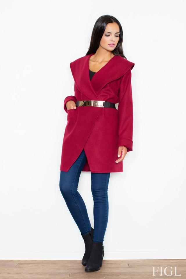 Dámský kabát M407 wine - L - bordó