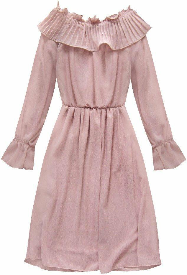 Růžové šifonové šaty s volánem (139ART) - ONE SIZE - růžová 88bab01b0a