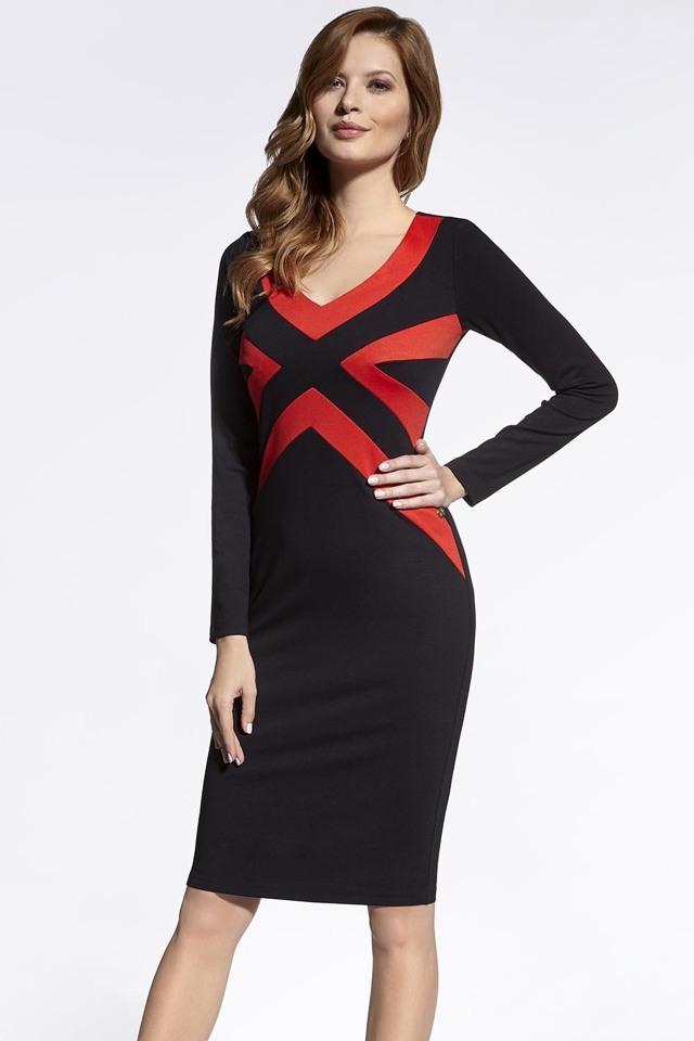 Dámské šaty Enny 200055 - 42 - černo-červená