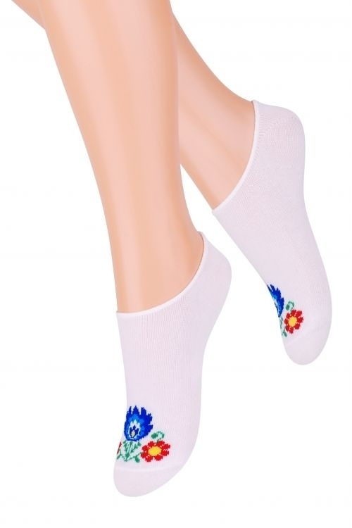 Dámské ponožky Steven Folk art.120 - - bílá