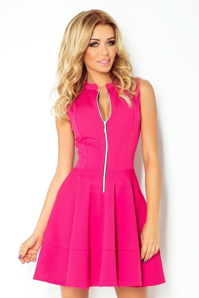 Malinově růžové šaty se zipem a kapsami 123-8 - S
