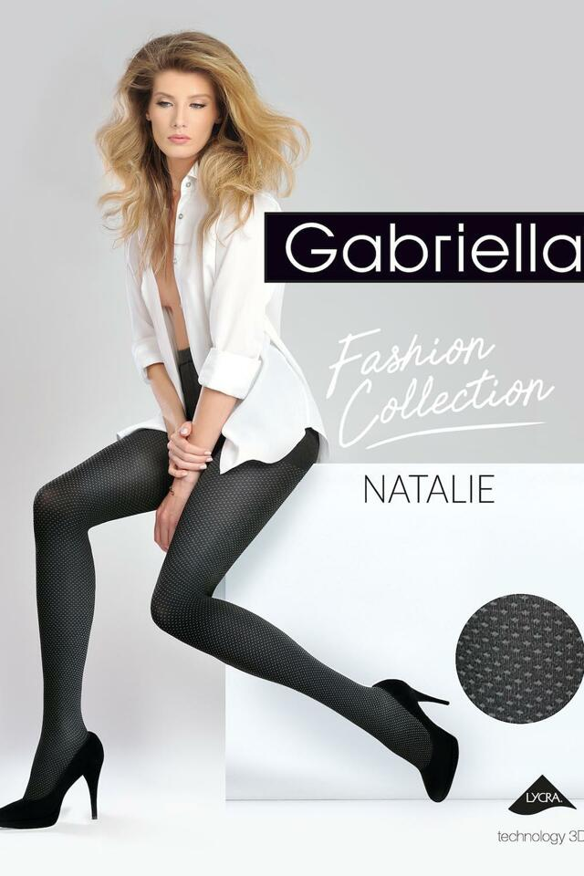 Dámské vzorované punčochové kalhoty Gabriella Natalie code 373 - 4-L - nero/kouřová