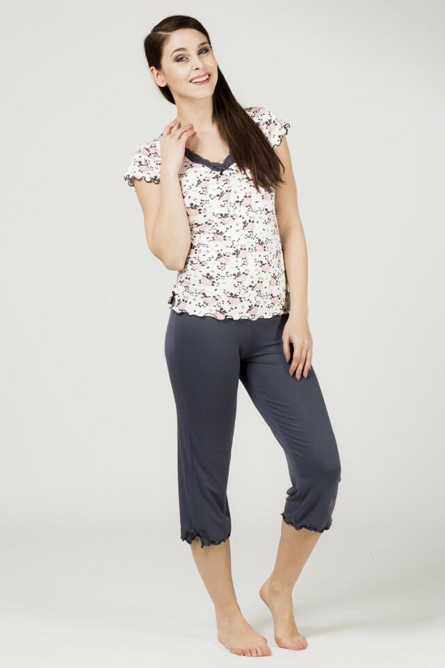 Dámské pyžamo 821 KK - CoCoon - XL - smetanová kvítek
