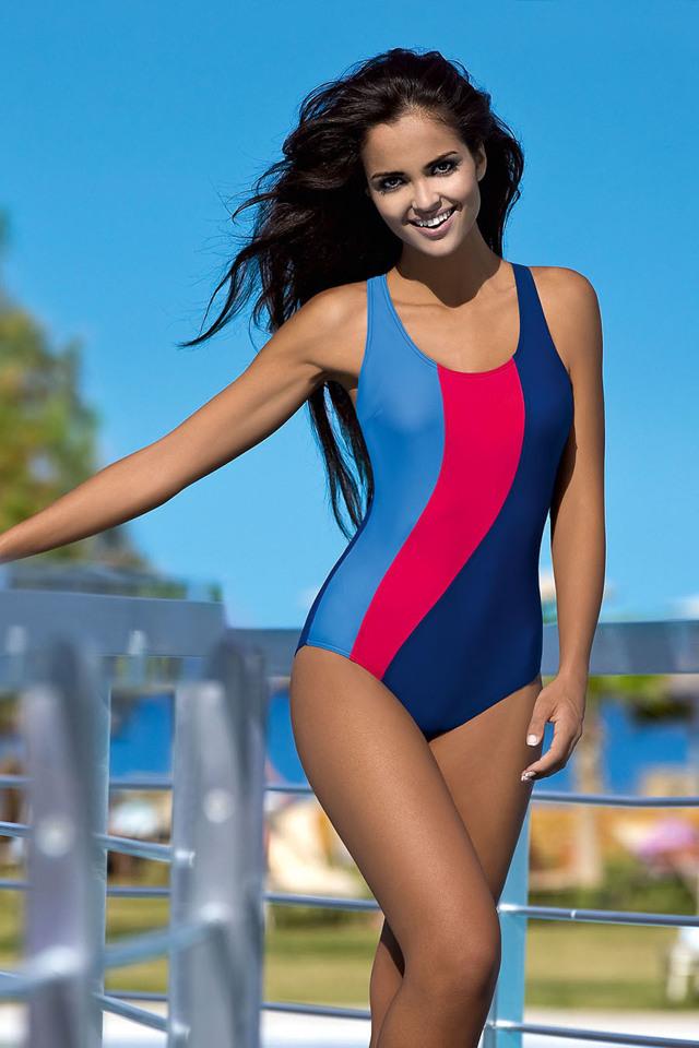 Dámské sportovní plavky Gita modročervené - S